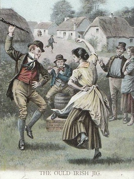 An old postcard drawing of a couple dancing in front of old cottages